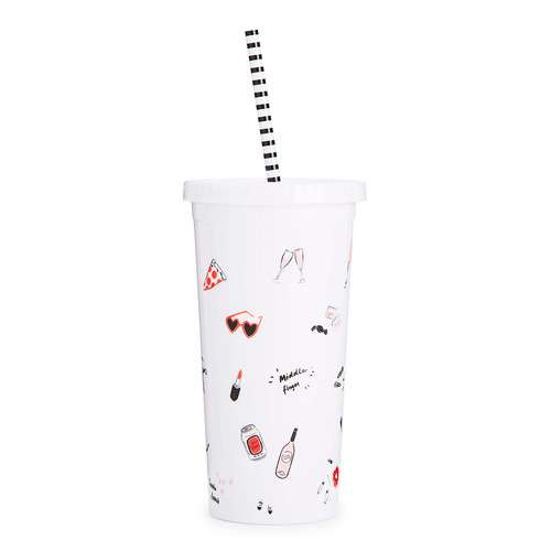 SIP SIP TUMBLER WITH STRAW - GIRLS JUST WANNA HAVE FUN